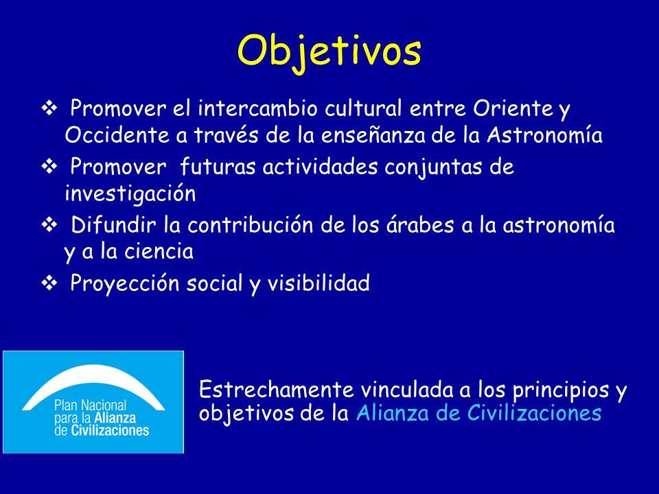 Objetivos Promover el intercambio cultural entre Oriente y Occidente a través de la enseñanza de la Astronomía Promover futuras actividades conjuntas