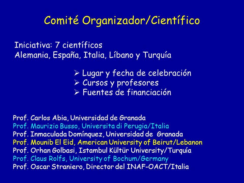 Comité Organizador/Científico Iniciativa: 7 científicos Alemania, España, Italia, Líbano y Turquía Lugar y fecha de celebración Cursos y profesores Fu