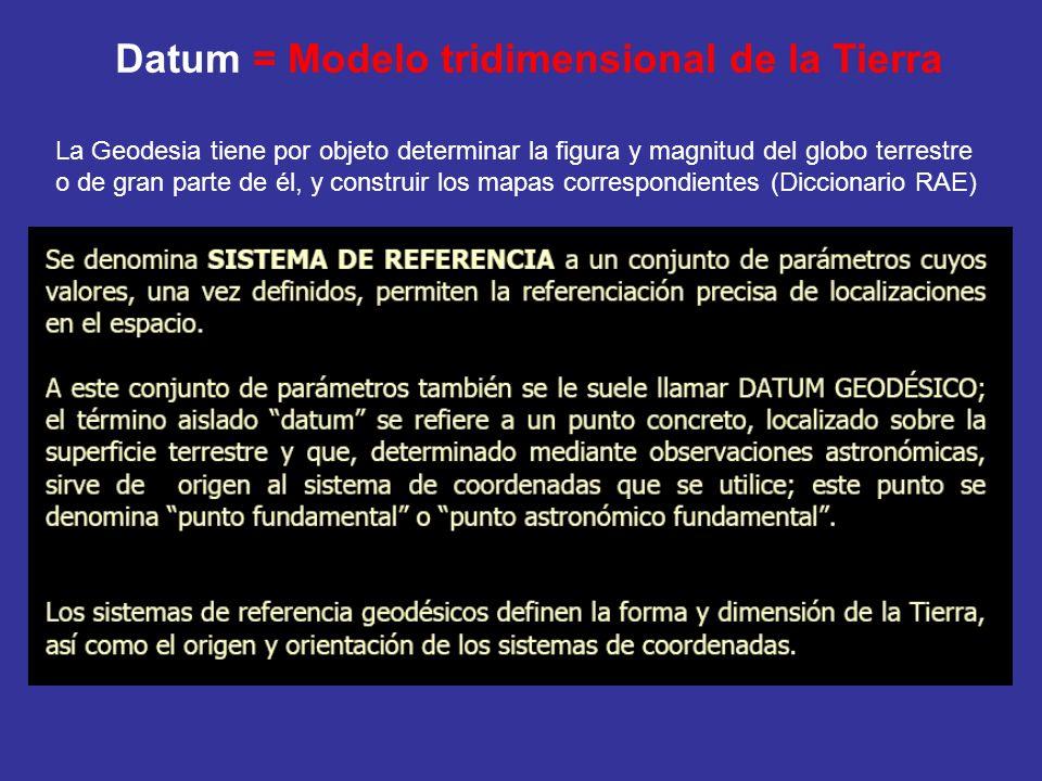 Datum = Modelo tridimensional de la Tierra La Geodesia tiene por objeto determinar la figura y magnitud del globo terrestre o de gran parte de él, y c