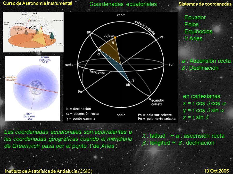 Curso de Astronomía Instrumental Sistemas de coordenadas Instituto de Astrofísica de Andalucía (CSIC) 10 Oct 2006 Coordenadas ecuatoriales Ecuador Pol