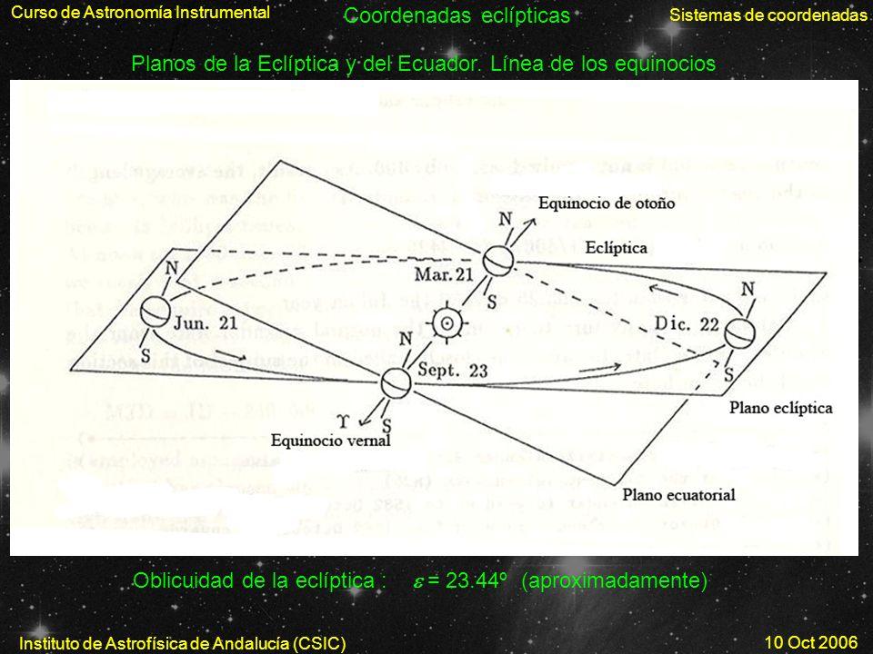 Curso de Astronomía Instrumental Instituto de Astrofísica de Andalucía (CSIC) 10 Oct 2006 Sistemas de coordenadas Planos de la Eclíptica y del Ecuador