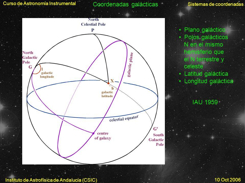 Curso de Astronomía Instrumental Sistemas de coordenadas Instituto de Astrofísica de Andalucía (CSIC) 10 Oct 2006 Coordenadas galácticas Plano galácti