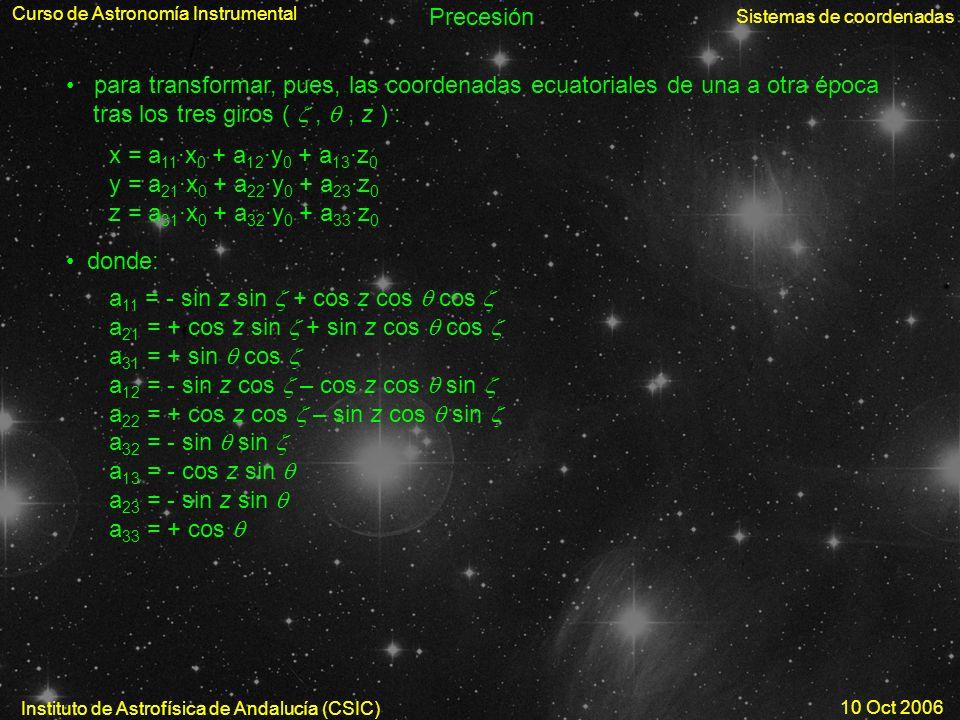 Curso de Astronomía Instrumental Sistemas de coordenadas Instituto de Astrofísica de Andalucía (CSIC) 10 Oct 2006 Precesión para transformar, pues, la