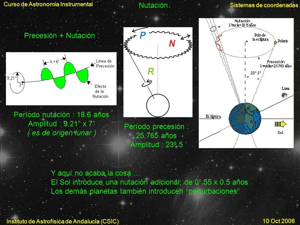 Curso de Astronomía Instrumental Sistemas de coordenadas Instituto de Astrofísica de Andalucía (CSIC) 10 Oct 2006 Nutación Período nutación : 18.6 año