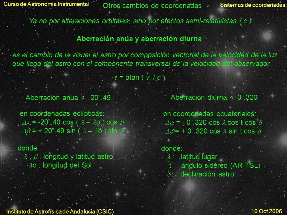 Curso de Astronomía Instrumental Sistemas de coordenadas Instituto de Astrofísica de Andalucía (CSIC) 10 Oct 2006 Aberración anua y aberración diurna