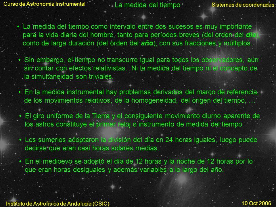 Curso de Astronomía Instrumental Sistemas de coordenadas Instituto de Astrofísica de Andalucía (CSIC) 10 Oct 2006 La medida del tiempo La medida del t