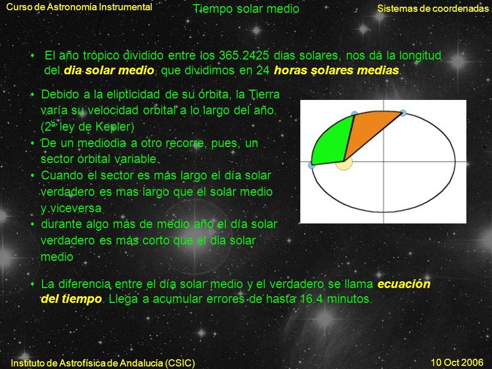 Curso de Astronomía Instrumental Sistemas de coordenadas Instituto de Astrofísica de Andalucía (CSIC) 10 Oct 2006 Tiempo solar medio El año trópico di