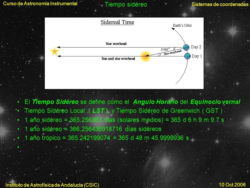 Curso de Astronomía Instrumental Sistemas de coordenadas Instituto de Astrofísica de Andalucía (CSIC) 10 Oct 2006 Tiempo sidéreo El Tiempo Sidéreo se