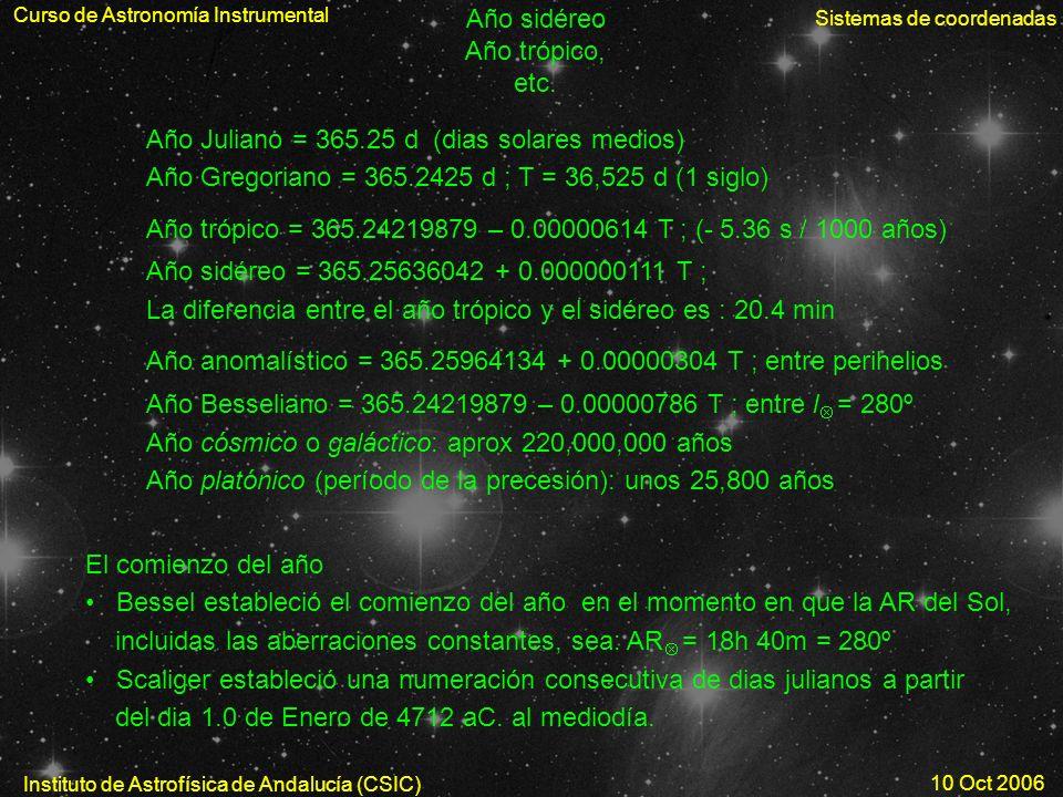 Curso de Astronomía Instrumental Sistemas de coordenadas Instituto de Astrofísica de Andalucía (CSIC) 10 Oct 2006 Año sidéreo Año trópico, etc. Año Ju