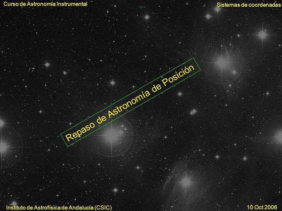 Curso de Astronomía Instrumental Sistemas de coordenadas Instituto de Astrofísica de Andalucía (CSIC) 10 Oct 2006 … Repaso de Astronomía de Posición
