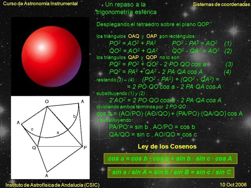 Curso de Astronomía Instrumental Sistemas de coordenadas Instituto de Astrofísica de Andalucía (CSIC) 10 Oct 2006 Un repaso a la trigonometría esféric