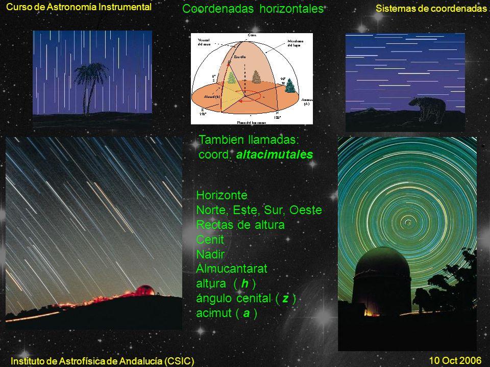 Curso de Astronomía Instrumental Sistemas de coordenadas Instituto de Astrofísica de Andalucía (CSIC) 10 Oct 2006 Coordenadas horizontales Horizonte N