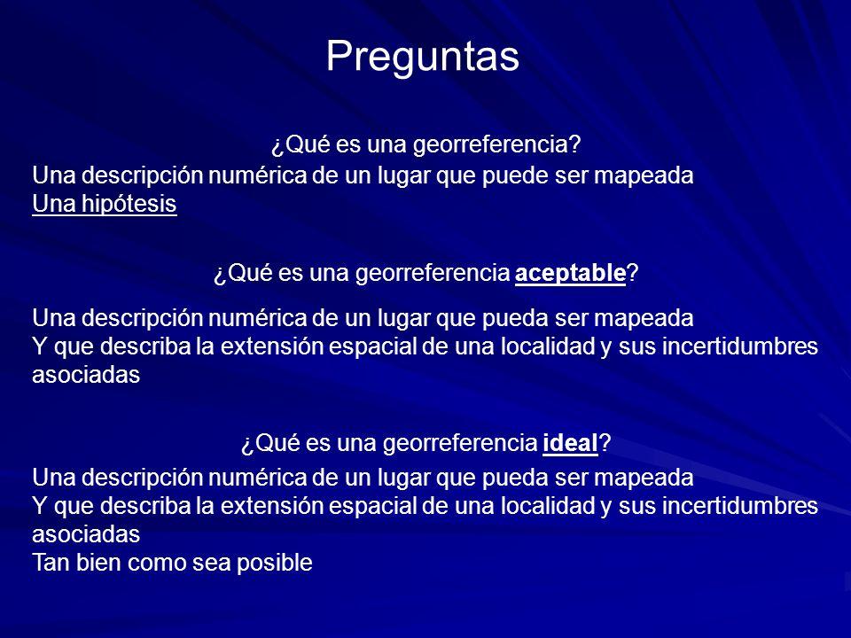 ¿Qué es una georreferencia aceptable? Una descripción numérica de un lugar que pueda ser mapeada Y que describa la extensión espacial de una localidad