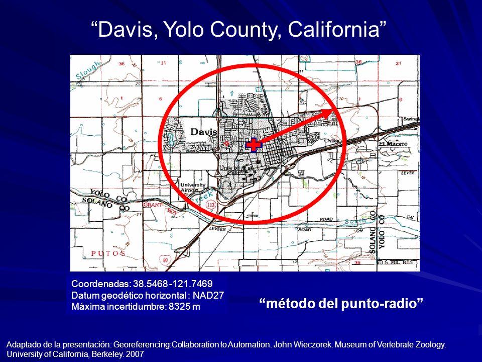 método del punto-radio Coordenadas: 38.5468 -121.7469 Datum geodético horizontal : NAD27 Máxima incertidumbre: 8325 m Adaptado de la presentación: Geo