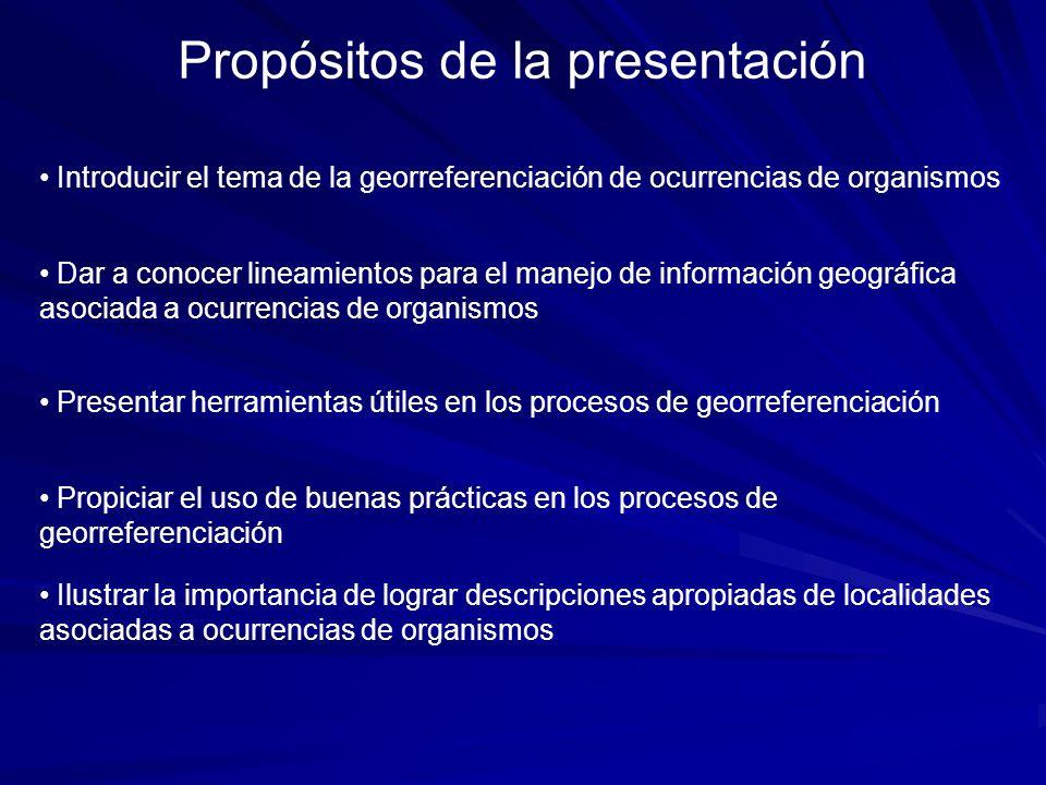 Propósitos de la presentación Introducir el tema de la georreferenciación de ocurrencias de organismos Dar a conocer lineamientos para el manejo de in