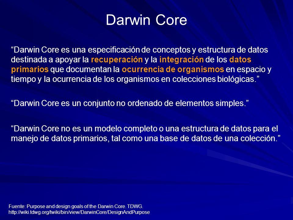Darwin Core es una especificación de conceptos y estructura de datos destinada a apoyar la recuperación y la integración de los datos primarios que do