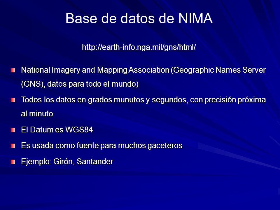 National Imagery and Mapping Association (Geographic Names Server (GNS), datos para todo el mundo) Todos los datos en grados munutos y segundos, con p