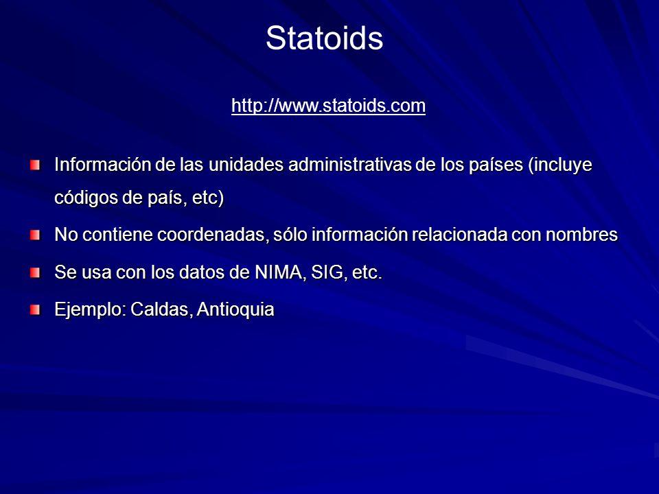 Statoids Información de las unidades administrativas de los países (incluye códigos de país, etc) No contiene coordenadas, sólo información relacionad