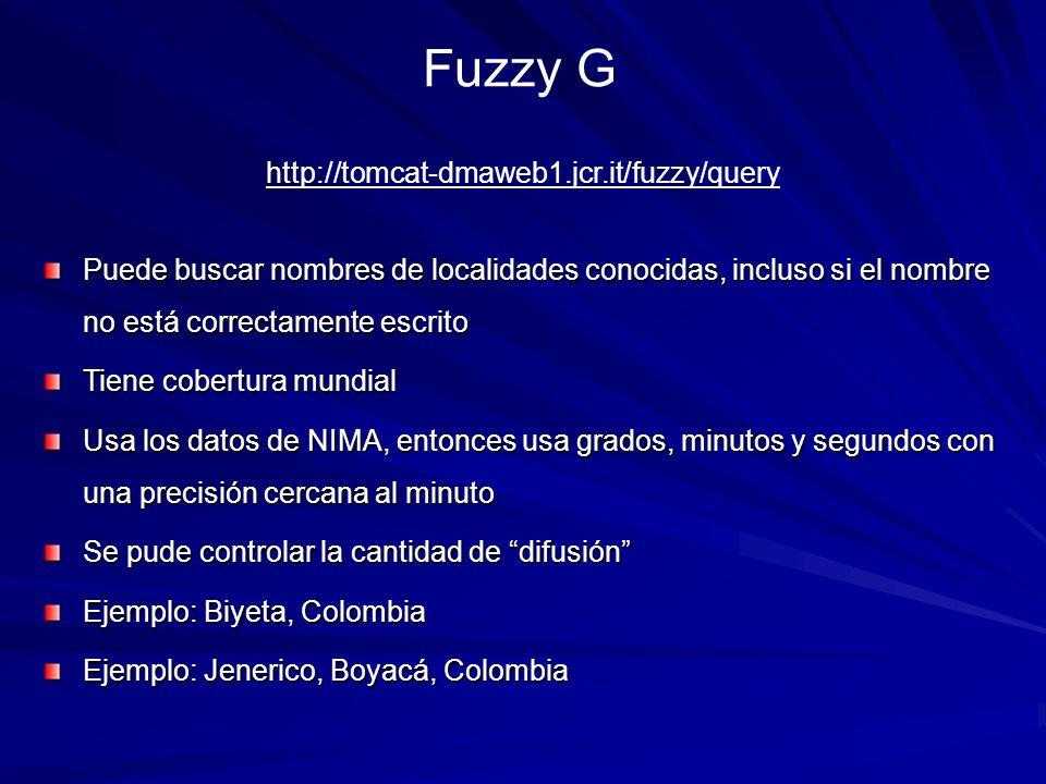Fuzzy G Puede buscar nombres de localidades conocidas, incluso si el nombre no está correctamente escrito Tiene cobertura mundial Usa los datos de NIM