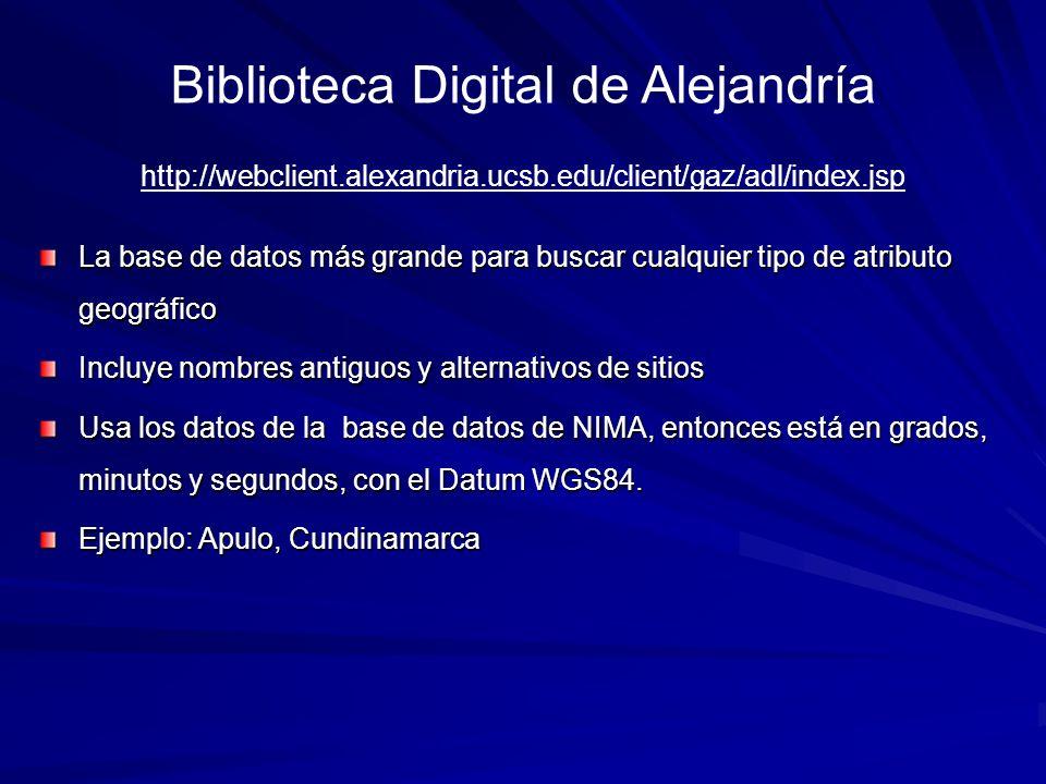 Biblioteca Digital de Alejandría La base de datos más grande para buscar cualquier tipo de atributo geográfico Incluye nombres antiguos y alternativos