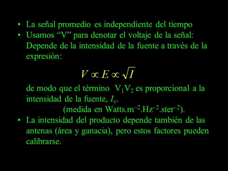 La señal promedio es independiente del tiempo Usamos V para denotar el voltaje de la señal: Depende de la intensidad de la fuente a través de la expre