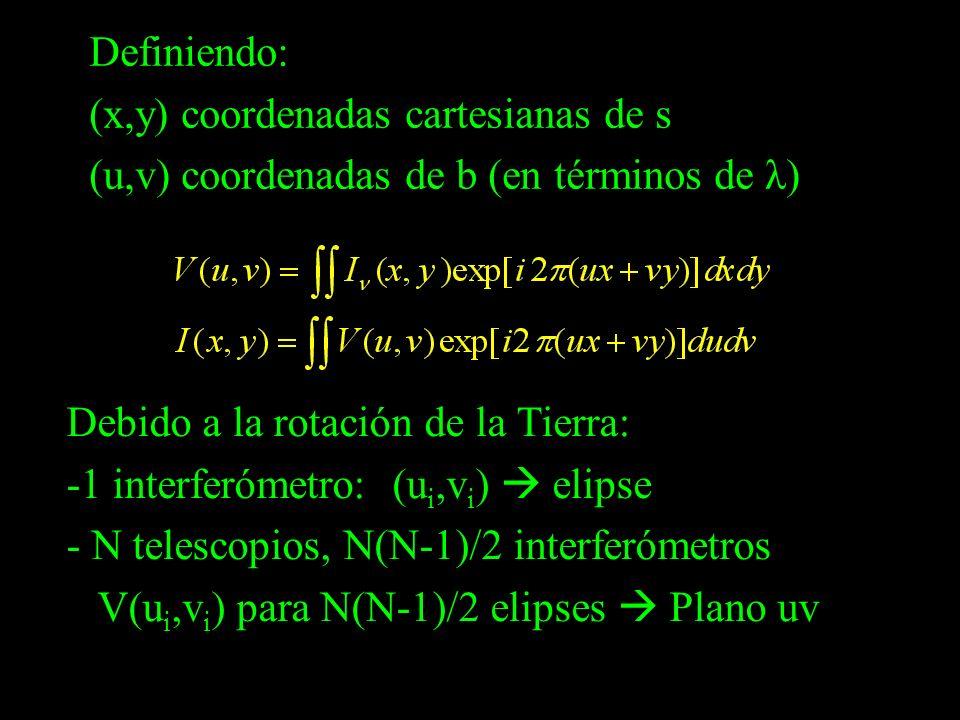 Definiendo: (x,y) coordenadas cartesianas de s (u,v) coordenadas de b (en términos de λ) Debido a la rotación de la Tierra: -1 interferómetro: (u i,v