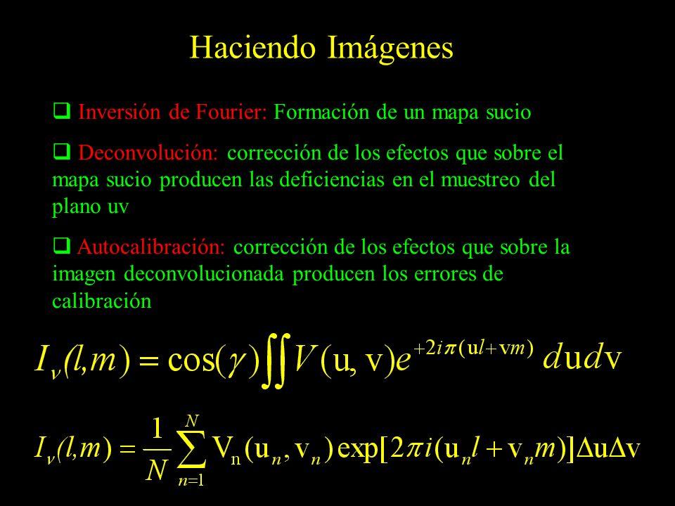 Haciendo Imágenes Inversión de Fourier: Formación de un mapa sucio Deconvolución: corrección de los efectos que sobre el mapa sucio producen las defic