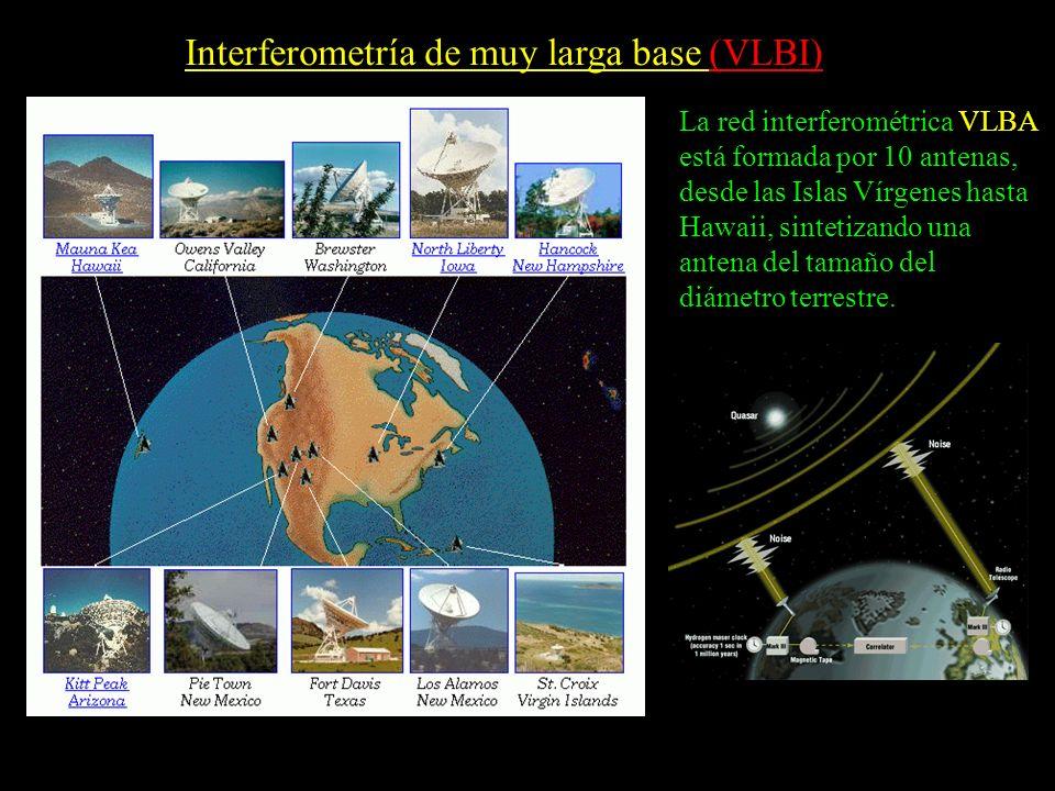 Interferometría de muy larga base (VLBI) La red interferométrica VLBA está formada por 10 antenas, desde las Islas Vírgenes hasta Hawaii, sintetizando