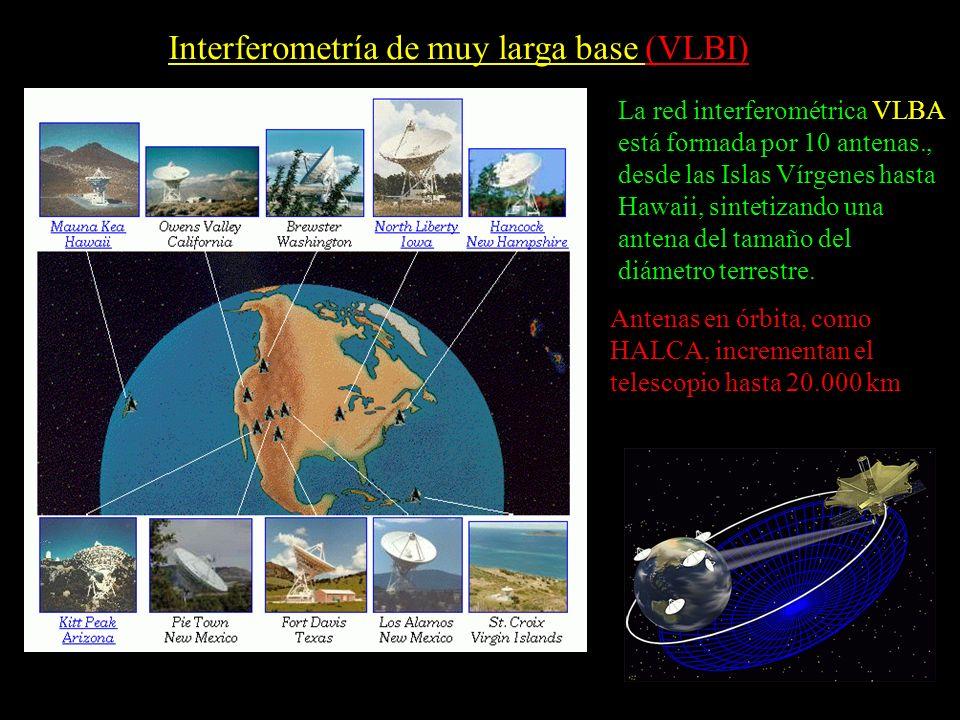 Interferometría de muy larga base (VLBI) La red interferométrica VLBA está formada por 10 antenas., desde las Islas Vírgenes hasta Hawaii, sintetizand