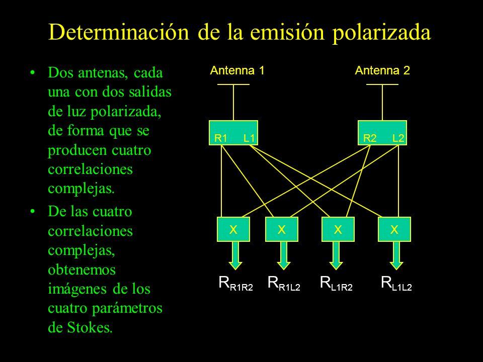 Determinación de la emisión polarizada Dos antenas, cada una con dos salidas de luz polarizada, de forma que se producen cuatro correlaciones compleja