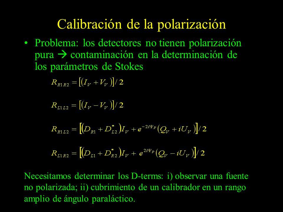 Calibración de la polarización Problema: los detectores no tienen polarización pura contaminación en la determinación de los parámetros de Stokes Nece