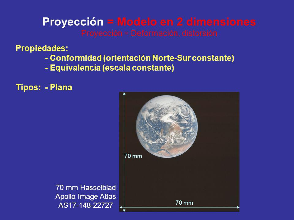 Proyección = Modelo en 2 dimensiones Proyección = Deformación, distorsión Propiedades: - Conformidad (orientación Norte-Sur constante) - Equivalencia (escala constante) Tipos: - Plana 70 mm 70 mm Hasselblad Apollo Image Atlas AS17-148-22727