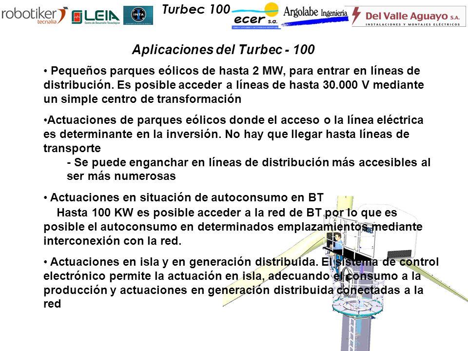 Pequeños parques eólicos de hasta 2 MW, para entrar en líneas de distribución. Es posible acceder a líneas de hasta 30.000 V mediante un simple centro