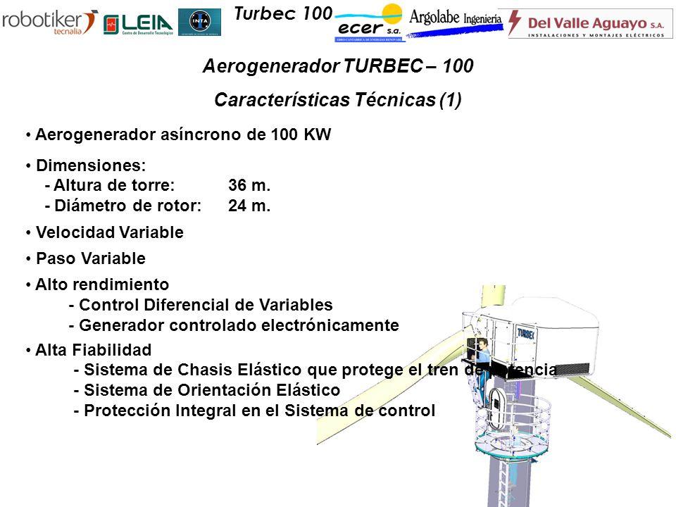 Aerogenerador asíncrono de 100 KW Dimensiones: - Altura de torre:36 m. - Diámetro de rotor:24 m. Velocidad Variable Paso Variable Alto rendimiento - C