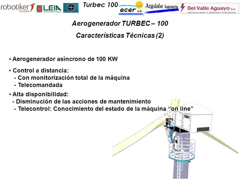 Aerogenerador asíncrono de 100 KW Control a distancia: - Con monitorización total de la máquina - Telecomandada Alta disponibilidad: - Disminución de