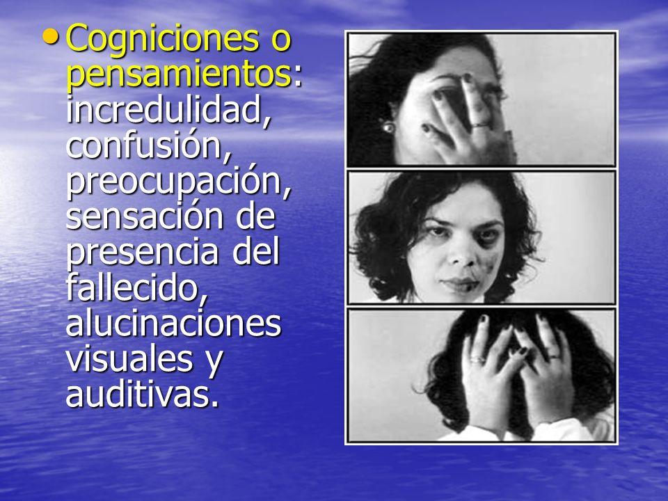 Cogniciones o pensamientos: incredulidad, confusión, preocupación, sensación de presencia del fallecido, alucinaciones visuales y auditivas. Cognicion