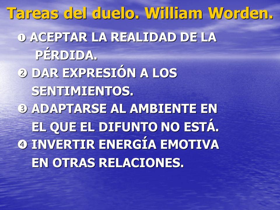 Tareas del duelo. William Worden. ACEPTAR LA REALIDAD DE LA ACEPTAR LA REALIDAD DE LA PÉRDIDA. PÉRDIDA. DAR EXPRESIÓN A LOS DAR EXPRESIÓN A LOS SENTIM