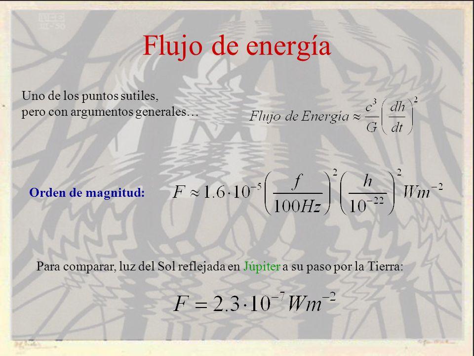 Flujo de energía Orden de magnitud: Uno de los puntos sutiles, pero con argumentos generales… Para comparar, luz del Sol reflejada en Júpiter a su pas