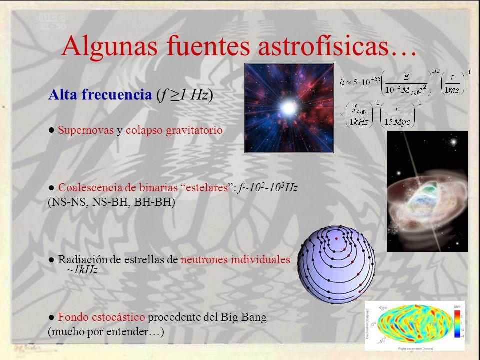 Alta frecuencia (f 1 Hz) Supernovas y colapso gravitatorio Coalescencia de binarias estelares: f~10 2 -10 3 Hz (NS-NS, NS-BH, BH-BH) Radiación de estr