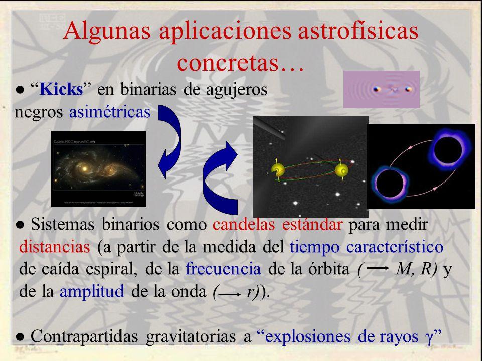 Algunas aplicaciones astrofísicas concretas… Kicks en binarias de agujeros negros asimétricas Sistemas binarios como candelas estándar para medir dist