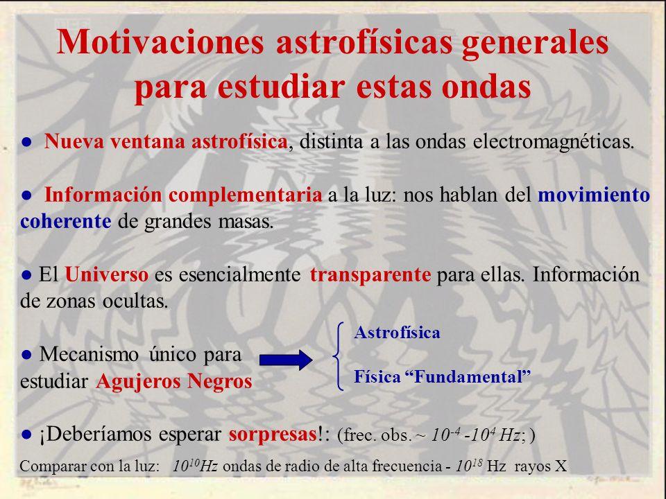 Motivaciones astrofísicas generales para estudiar estas ondas Nueva ventana astrofísica, distinta a las ondas electromagnéticas. Información complemen
