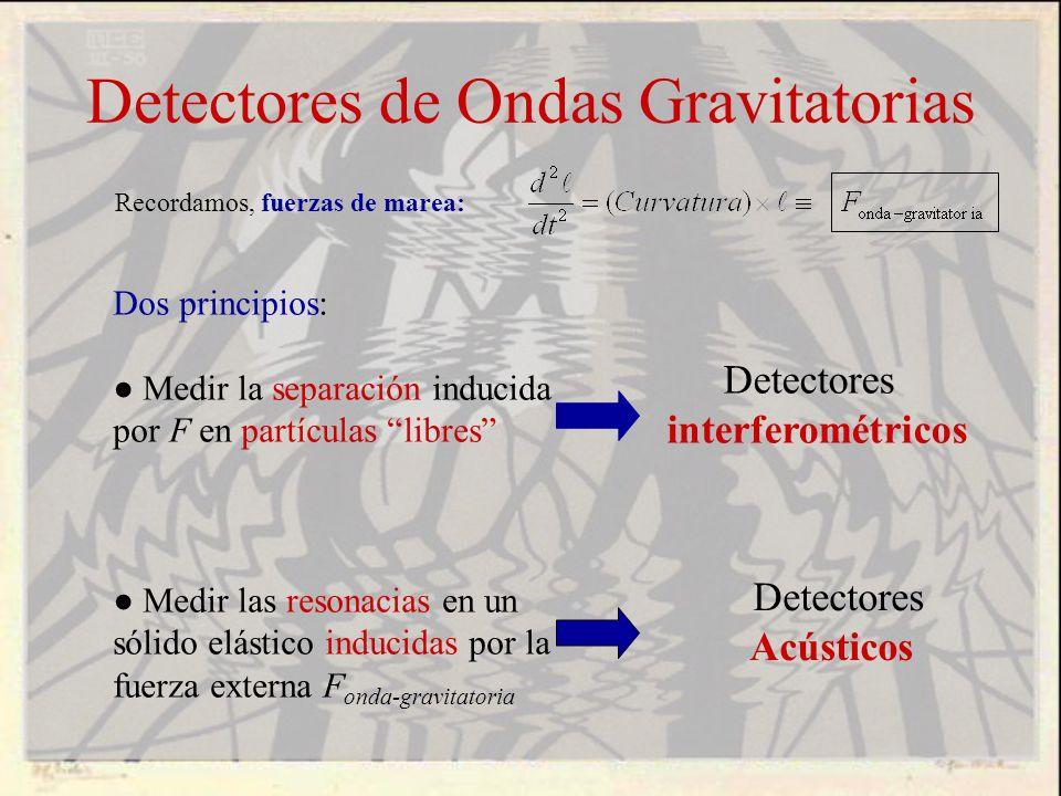 Detectores de Ondas Gravitatorias Recordamos, fuerzas de marea: Dos principios: Medir la separación inducida por F en partículas libres Medir las reso