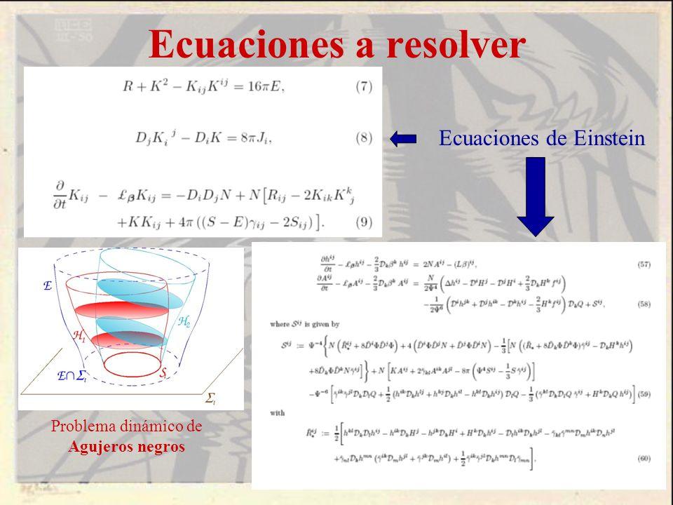 Ecuaciones a resolver Ecuaciones de Einstein Problema dinámico de Agujeros negros