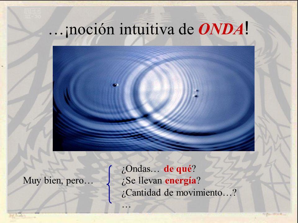 …¡noción intuitiva de ONDA ! ¿Ondas… de qué? ¿Se llevan energía? ¿Cantidad de movimiento…? … Muy bien, pero…