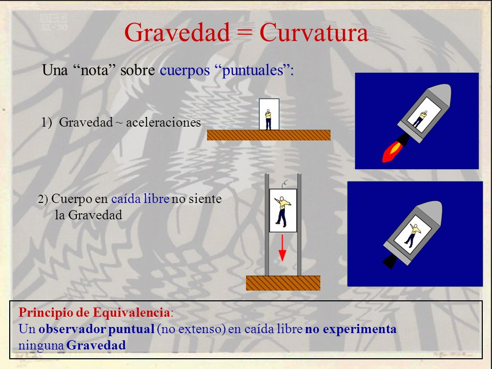 Gravedad = Curvatura Principio de Equivalencia: Un observador puntual (no extenso) en caída libre no experimenta ninguna Gravedad Una nota sobre cuerp