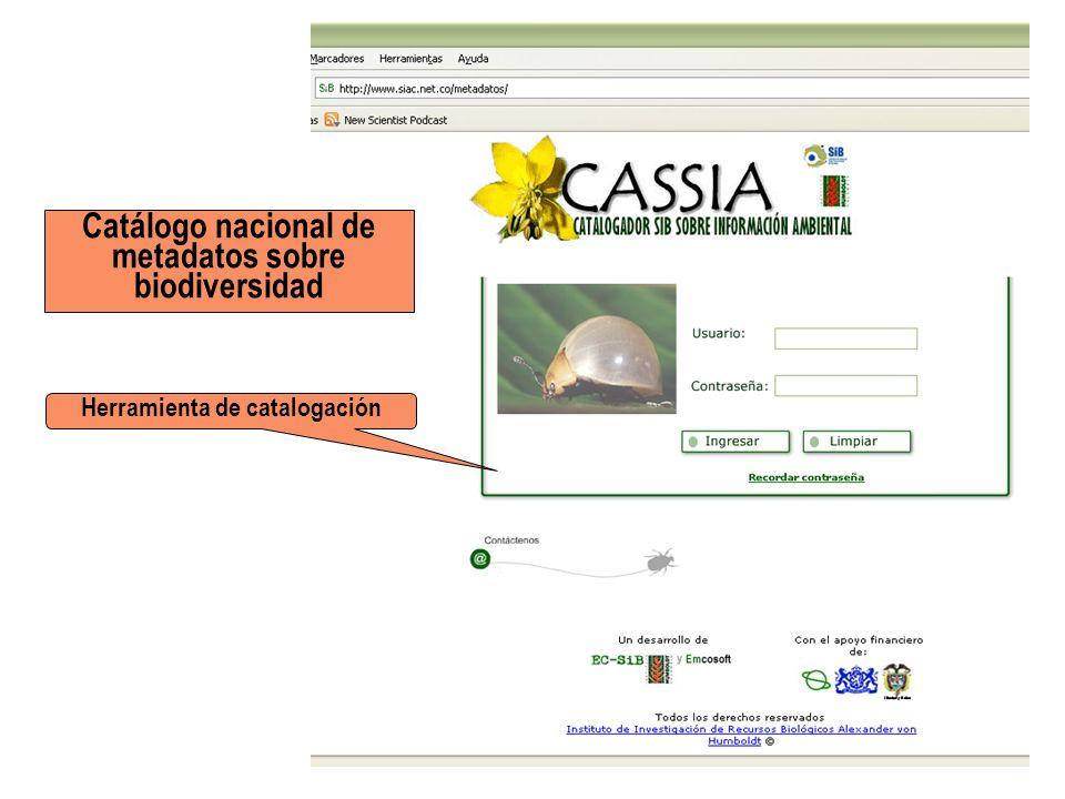 Catálogo nacional de metadatos sobre biodiversidad Herramienta de catalogación