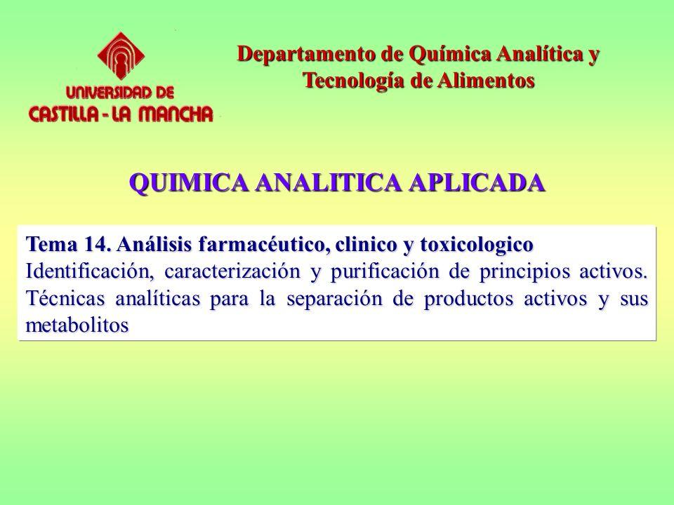 QUIMICA ANALITICA APLICADA Departamento de Química Analítica y Tecnología de Alimentos Tema 14. Análisis farmacéutico, clinico y toxicologico Identifi