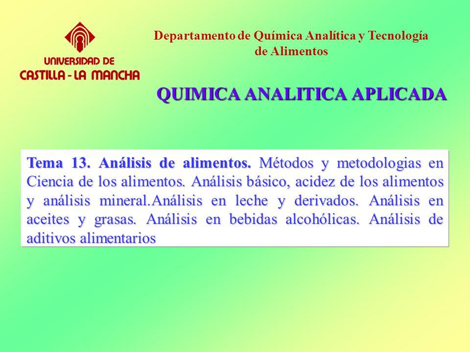 Tema 13. Análisis de alimentos. Métodos y metodologias en Ciencia de los alimentos. Análisis básico, acidez de los alimentos y análisis mineral.Anális