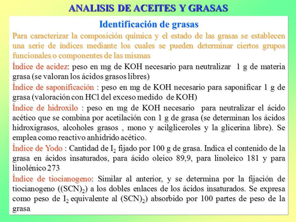 Identificación de grasas Para caracterizar la composición química y el estado de las grasas se establecen una serie de índices mediante los cuales se