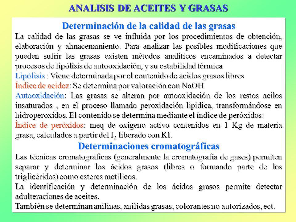 ANALISIS DE ACEITES Y GRASAS Determinación de la calidad de las grasas La calidad de las grasas se ve influida por los procedimientos de obtención, el